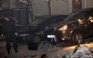 Джипът на Пеевски, който пострада след взрива на 22 декември 2009 г.