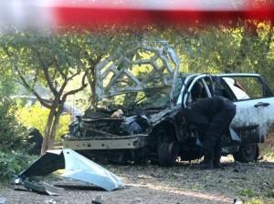 Взривеният автомобил на Сашо Диков
