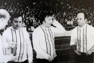 Васил Попов, Никола Анастасов и Хиндо Касимов (от ляво надясно) като футболисти